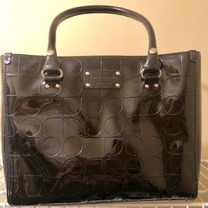 Kate Spade -Patent Monogram Black Leather Tote